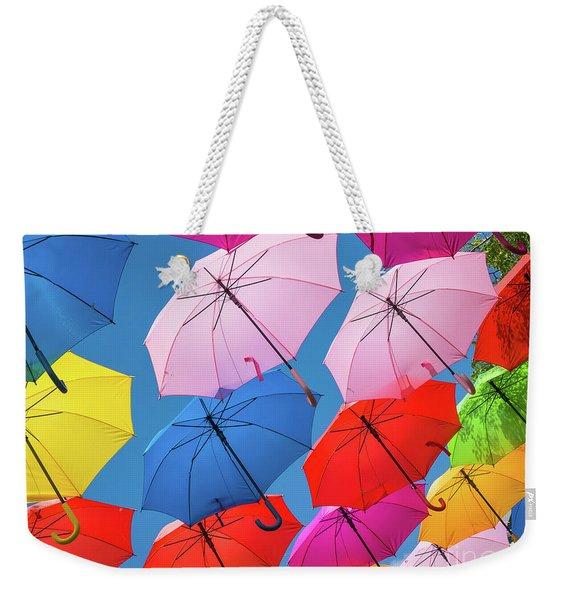 Floating Umbrellas Weekender Tote Bag