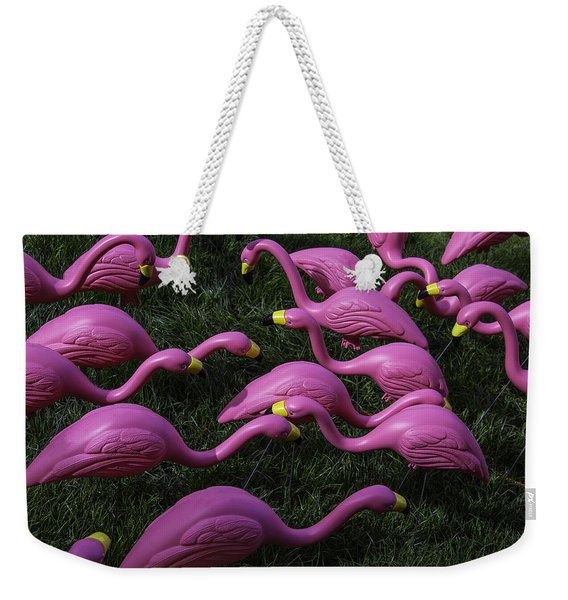 Flock Of  Plastic Flamingos Weekender Tote Bag