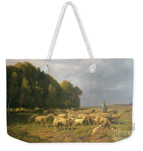 Flock Of Sheep In A Landscape Weekender Tote Bag