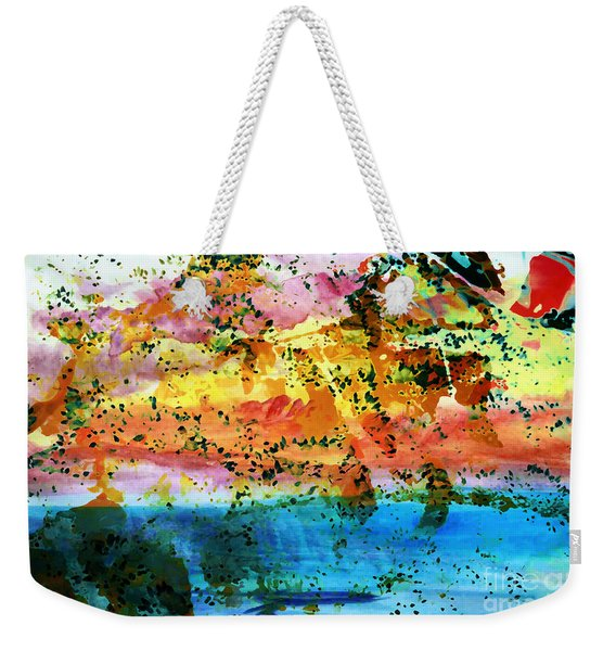 Weekender Tote Bag featuring the painting Rustic Landscape Abstract  D2131716 by Mas Art Studio