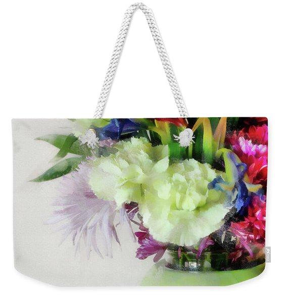 Floral Bouquet In Green Weekender Tote Bag