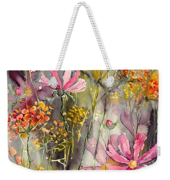 Floral Cosmos Weekender Tote Bag