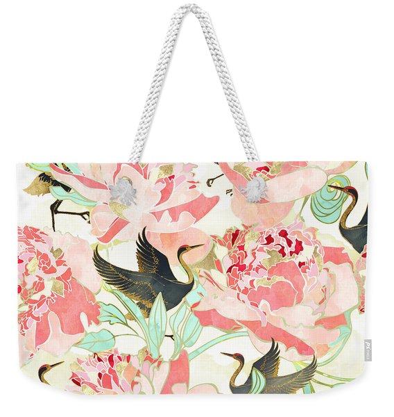 Floral Cranes Weekender Tote Bag