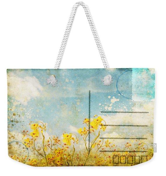 Floral In Blue Sky Postcard Weekender Tote Bag