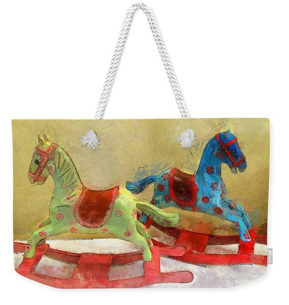 Floral Rocking Horses Weekender Tote Bag