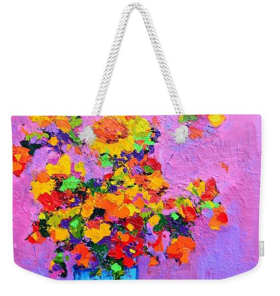 Floral Still Life - Flowers In A Vase Modern Impressionist Palette Knife Artwork Weekender Tote Bag