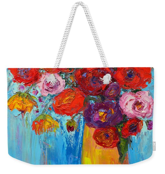 Wild Roses And Peonies, Original Impressionist Oil Painting Weekender Tote Bag