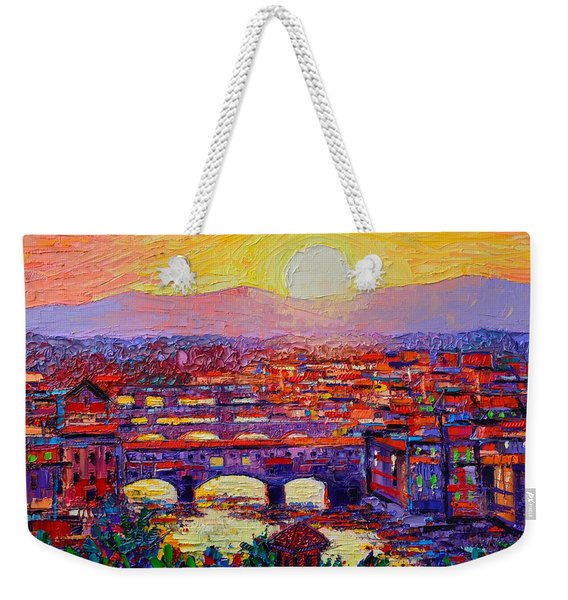 Florence Sunset Over Ponte Vecchio Abstract Impressionist Knife Oil Painting By Ana Maria Edulescu Weekender Tote Bag