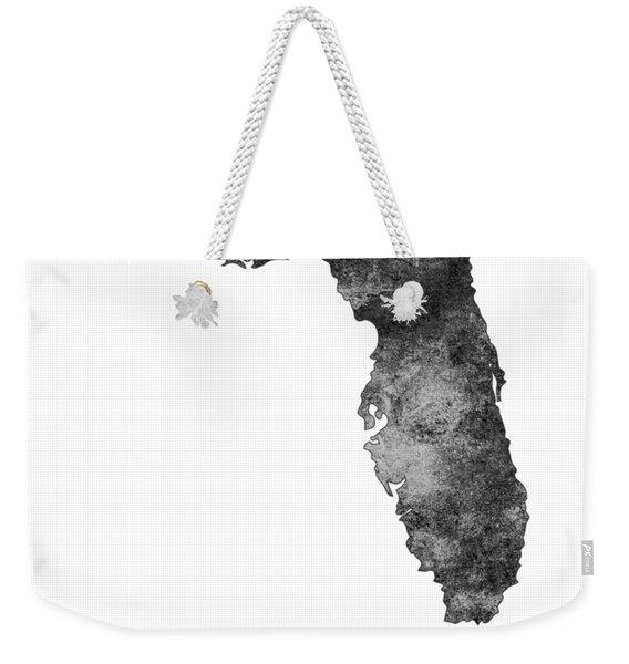 Florida State Map Art - Grunge Silhouette Weekender Tote Bag