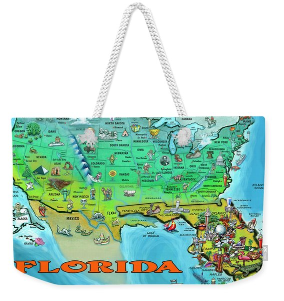 Florida Usa Cartoon Map Weekender Tote Bag