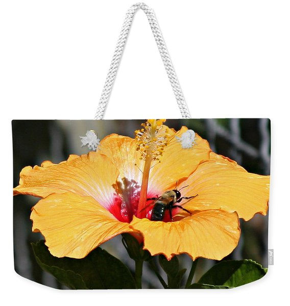 Flower Bee Weekender Tote Bag