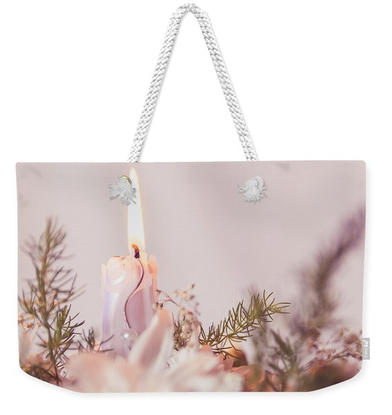 Flower Bouquet With Candle Weekender Tote Bag