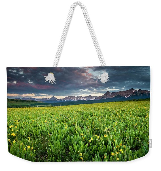 Flower Field And Sneffels Range Weekender Tote Bag