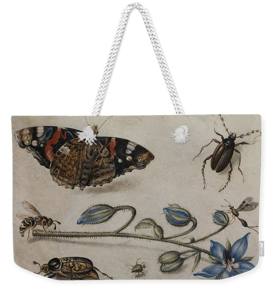 Flower, Insects And Butterfly Weekender Tote Bag