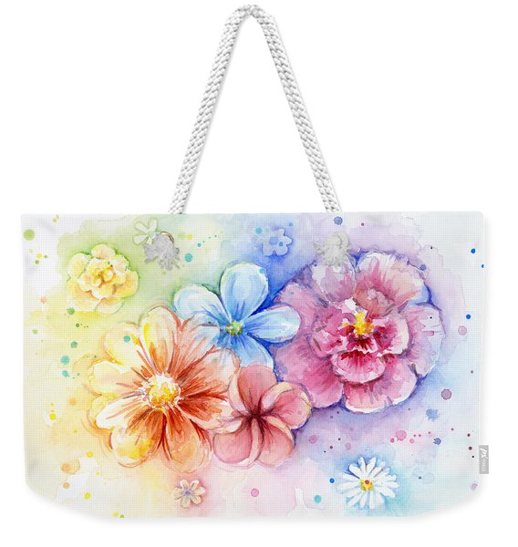 Flower Power Watercolor Weekender Tote Bag