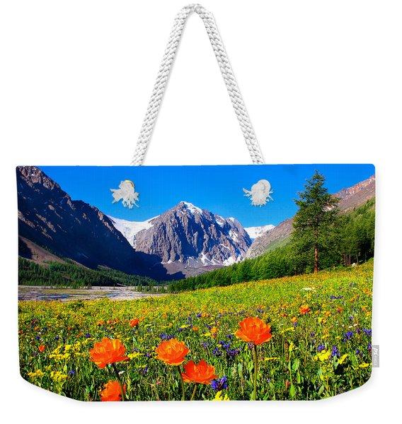 Flowering Valley. Mountain Karatash Weekender Tote Bag