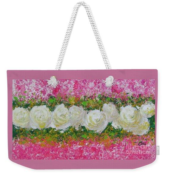 Flowerline In Pink And White Weekender Tote Bag