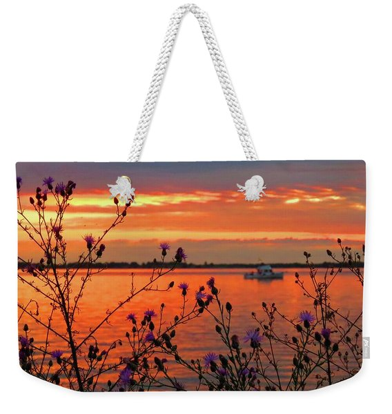 Flowers Along The Shore At Tibbetts Point  Weekender Tote Bag