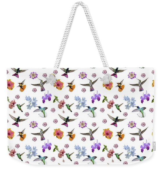 Weekender Tote Bag featuring the digital art Flowers And Hummingbirds 1 by Rachel Lee Young