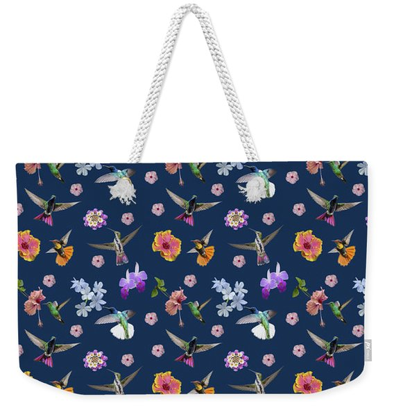 Weekender Tote Bag featuring the digital art Flowers And Hummingbirds 2 by Rachel Lee Young