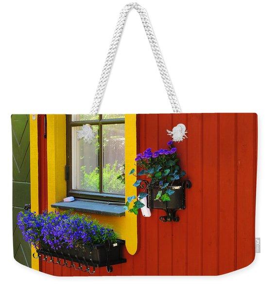 Flowers And Windowbox In Vaxholm Sweden Weekender Tote Bag