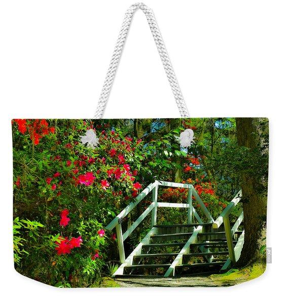 Flowers Bloom Alongside Magnolia Plantation Bridge - Charleston Sc Weekender Tote Bag