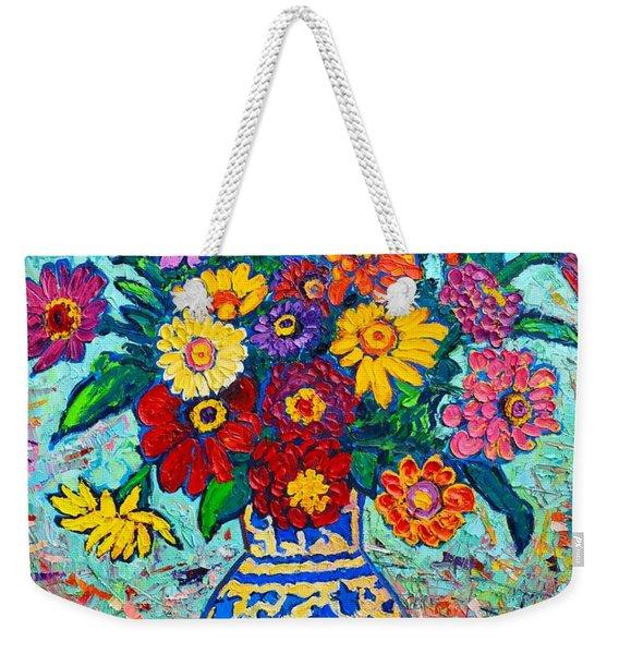 Flowers - Colorful Zinnias Bouquet Weekender Tote Bag