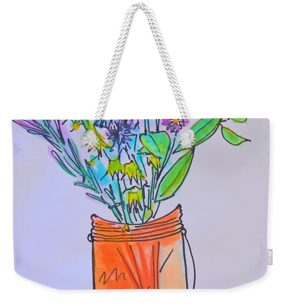 Flowers In An Orange Mason Jar Weekender Tote Bag