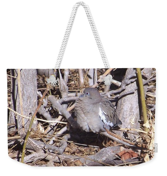 Weekender Tote Bag featuring the digital art Fluffy Dove by Deleas Kilgore