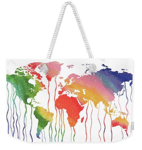 Fluid Rainbow Watercolor World Map Weekender Tote Bag