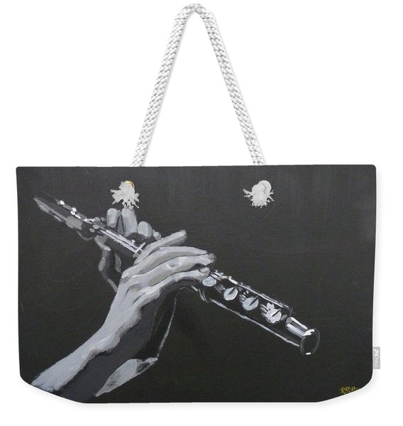 Weekender Tote Bag featuring the painting Flute Hands by Richard Le Page