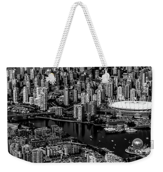 Weekender Tote Bag featuring the photograph Fly Over Vancouver Bandw by Michael Hope