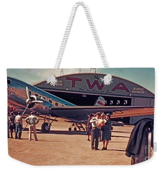 Fly Twa The Lindberg Line By Henry Bosis Weekender Tote Bag