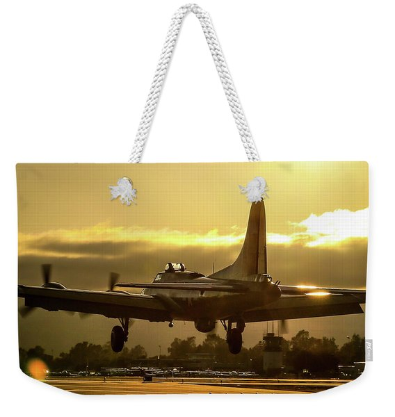 Flying Fotress Over The Numbers Weekender Tote Bag