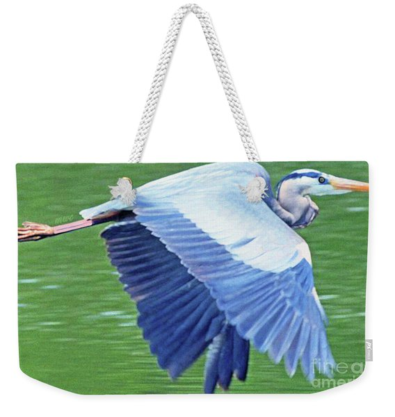 Weekender Tote Bag featuring the painting Flying Great Blue Heron by Marian Cates