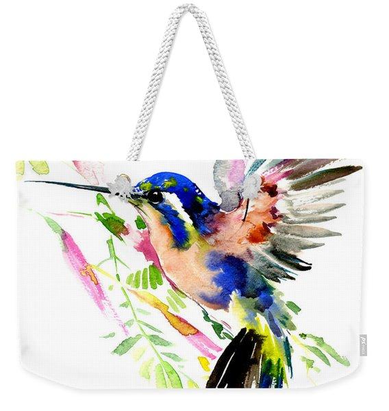 Flying Hummingbird Blue Peach Colors Weekender Tote Bag