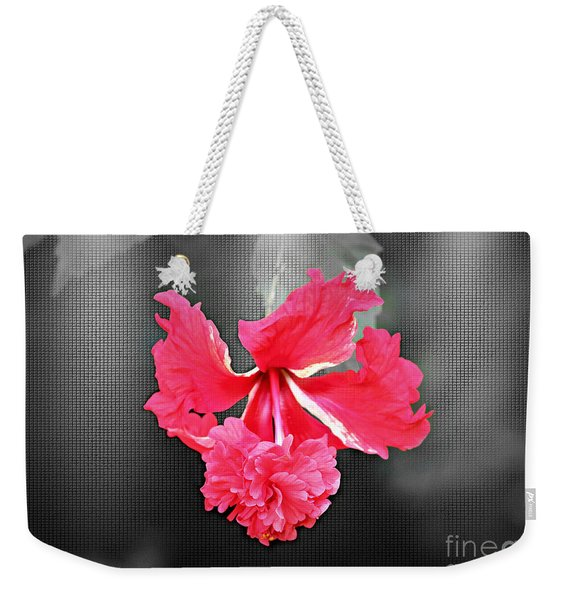Focal Bw Red Hibiscus Multilayered Weekender Tote Bag