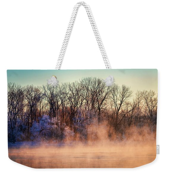 Fog And Frost On The Wisconsin River 2017-1 Weekender Tote Bag