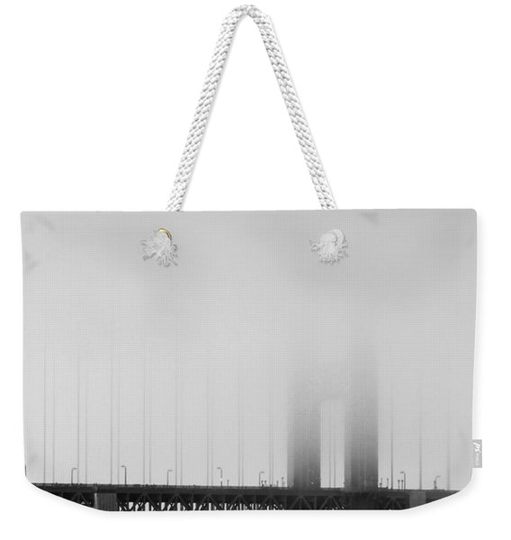 Fog At The Golden Gate Bridge 4 - Black And White Weekender Tote Bag