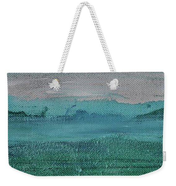 Weekender Tote Bag featuring the painting Fog In The Bay by Kim Nelson