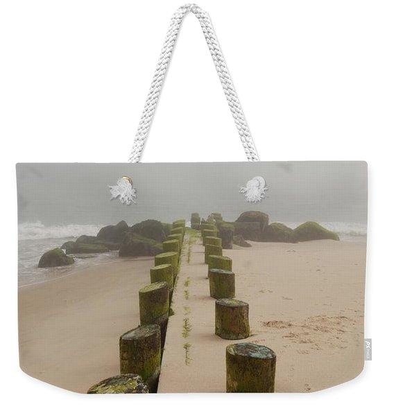 Fog Sits On Bay Head Beach - Jersey Shore Weekender Tote Bag