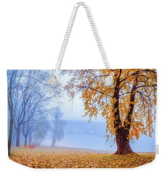 Foggy Autumn Morning On Vistula Weekender Tote Bag