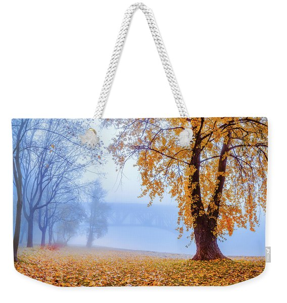 Weekender Tote Bag featuring the photograph Foggy Autumn Morning On Vistula by Dmytro Korol
