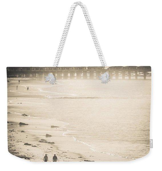 Foggy Beach Walk Weekender Tote Bag