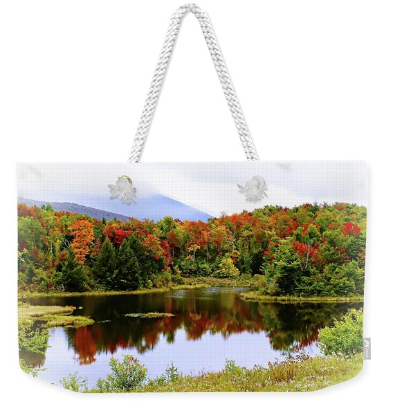 Foggy Fall Day In Vermont Weekender Tote Bag