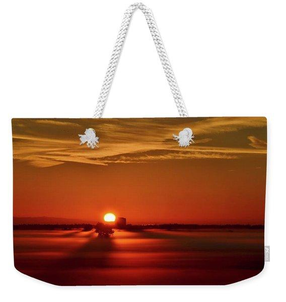 Foggy Farmlands Sunrise Weekender Tote Bag