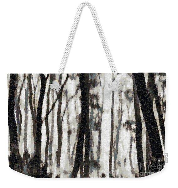Foggy Forest Tree Paint Weekender Tote Bag