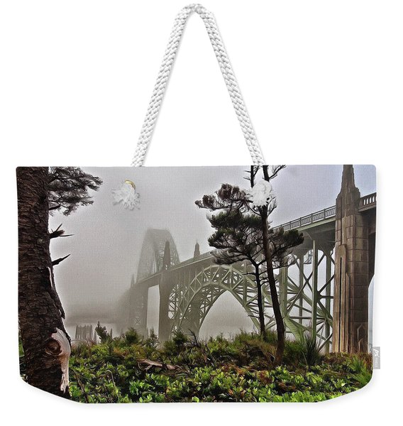 A Foggy Morning On Yaquina Bay Weekender Tote Bag