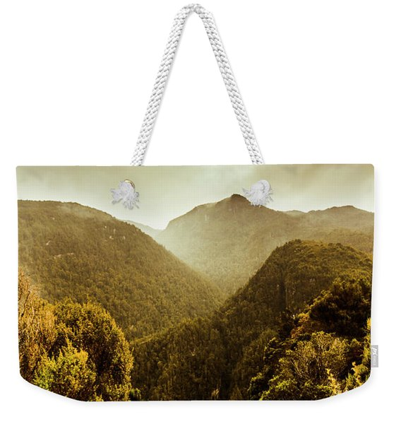 Foggy Mountainous Forest Weekender Tote Bag