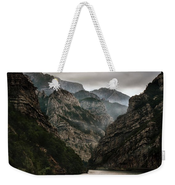 Weekender Tote Bag featuring the photograph Foggy Mountains Over Neretva Gorge by Jaroslaw Blaminsky